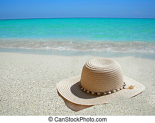 karibský, klobouk, pláž