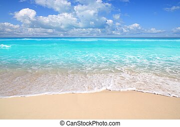 karibský, tyrkys, pláž, bezvadný, moře, slunný den