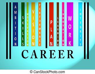 kariera, barcode, słowo, barwny