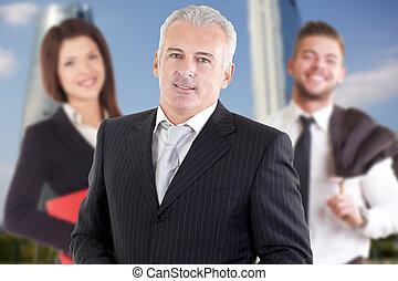 kariera, uśmiechanie się, teamwork, handlowy, powodzenie