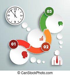 karikák, óra, timeline, lenget, 3, infographic