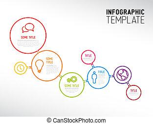 karikák, elkészített, modern, megvonalaz, infographic, sablon, jelent