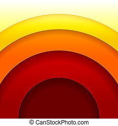 karikák, elvont, vektor, háttér, narancs, piros