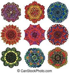 karikák, geometriai, díszítés, körkörös, design.