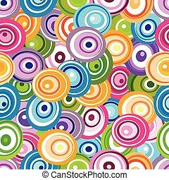 karikák, motívum, seamless, sokszínű
