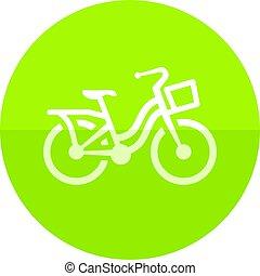 karika, ikon, -, város, bicikli