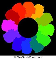 karika, különböző, színes, arc