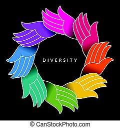 karika, különböző, színes, kézbesít