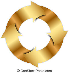karika, vektor, nyílvesszö, arany