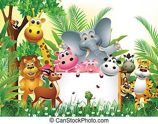 karikatúra, állat, furcsa