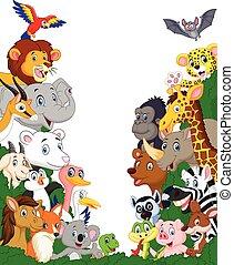 karikatúra, állat, háttér, vad