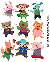 karikatúra, állat, tánc
