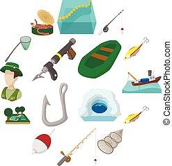 karikatúra, állhatatos, halászat, ikonok