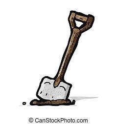 karikatúra, ásó, kert