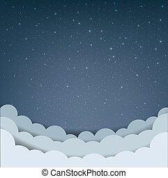 karikatúra, ég felhő, csillaggal díszít