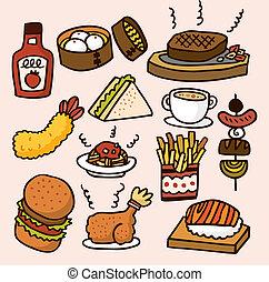 karikatúra, élelmiszer, csinos