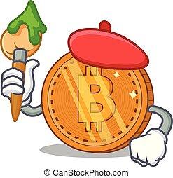 karikatúra, érme, bitcoin, művész, betű