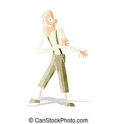 karikatúra, öregember, birtoklás, szívroham
