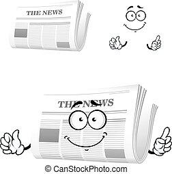 karikatúra, újság, noha, figyelem, gesztus
