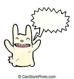 karikatúra, üregi nyúl, boldog