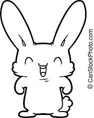 karikatúra, üregi nyúl, nevető