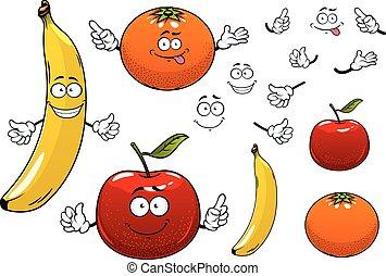 karikatúra, alma, narancs, és, banán, gyümölcs