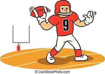 karikatúra, american foci játékos, szilárd, dob, képben...