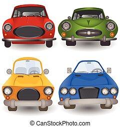 karikatúra, autó, elülső