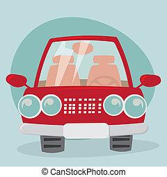 karikatúra, autó, -, eleje kilátás
