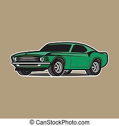 karikatúra, autó, elszigetelt, white, háttér.