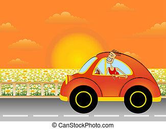 karikatúra, autó, ember