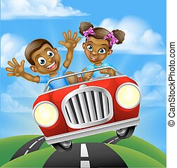 karikatúra, autó, gyerekek, vezetés