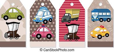 karikatúra, autó, kártya