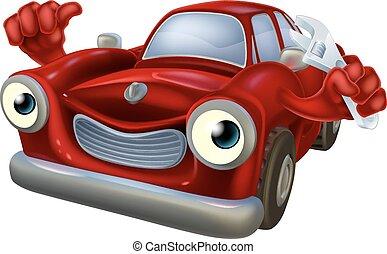 karikatúra, autó, noha, csavarkulcs