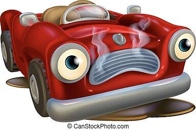 karikatúra, autó, szükségben lévő, rendbehozás