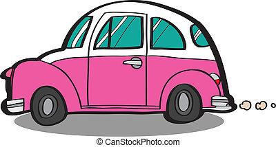 karikatúra, autó, vektor