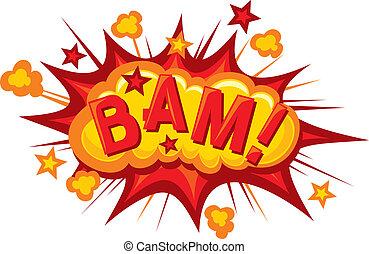 karikatúra, -, bam, (comic, bam, explosion)
