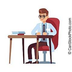 karikatúra, betű, orvos, vektor, hivatal., szék, vizsga, kórház, őt ül, fiatal, asztal, fogalom, orvos, orvosi klinika, diagnózis, modern