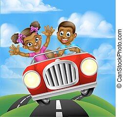 karikatúra, betűk, vezetés, autó