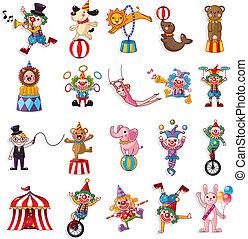 karikatúra, boldog, cirkusz, előadás, ikonok, gyűjtés