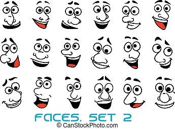 karikatúra, boldog, emberi, érzelmek, arc