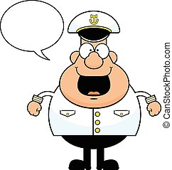 karikatúra, boldog, hajó vezető