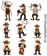 karikatúra, cowboy, ikon