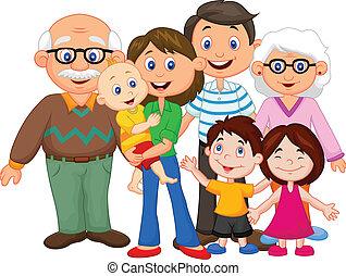 karikatúra, család, boldog