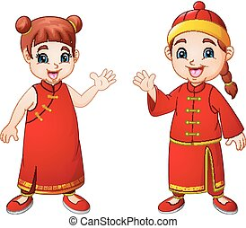 karikatúra, csinos, fiú lány, alatt, kínai, jelmez