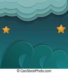 karikatúra, elhomályosul, csillaggal díszít, ábra, tenger