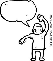 karikatúra, ember, előadó, egy, karate hullámzik
