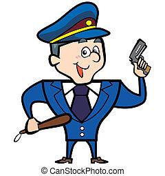 karikatúra, ember, rendőrség, pisztoly, tiszt