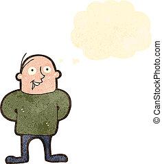 karikatúra, ember, retro, boldog