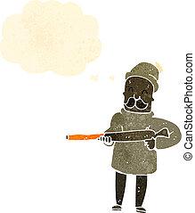 karikatúra, ember, retro, karabély